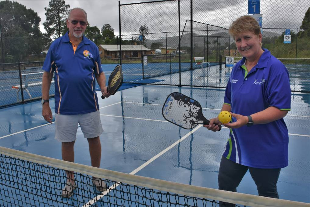 PICKLEBALL PROS: Kendall Tennis Club member Bob Thompson and president Wendy Hudson.