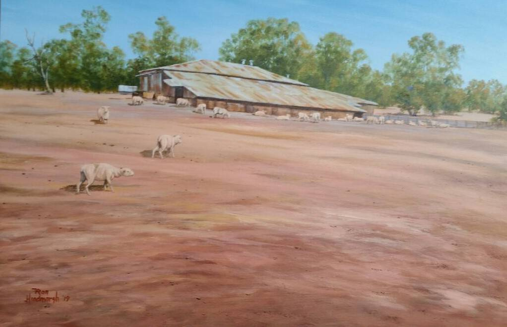 Ron Hindmarsh's painting, inspired by a drought-stricken sheep property in Cumnock NSW, raised funds for Rotary's drought appeal.