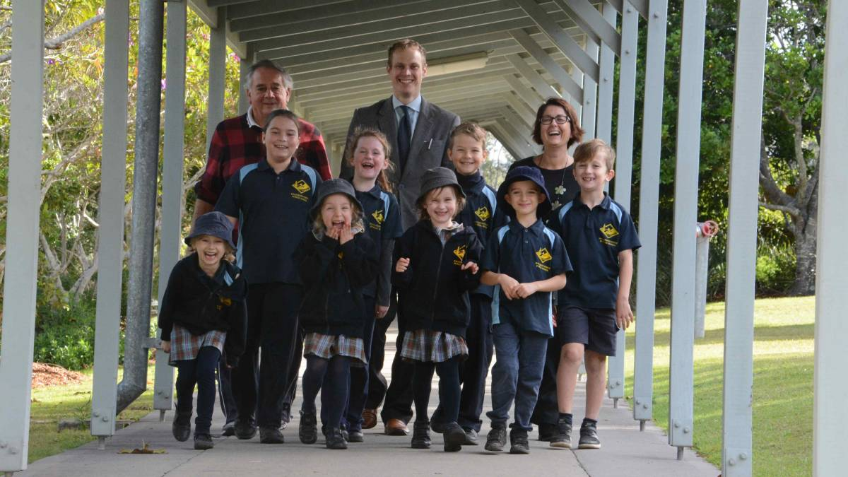 Ethics teachers Brian Crowther, Josh Crowther and Mellissa Hammond with year three students Zahara Clarke, Sienna Bell, Charlie Maligin, Solomon Hiley and kindies Zara Crowther, Adma Pursch, Ella Whight and Abby Yelavic.