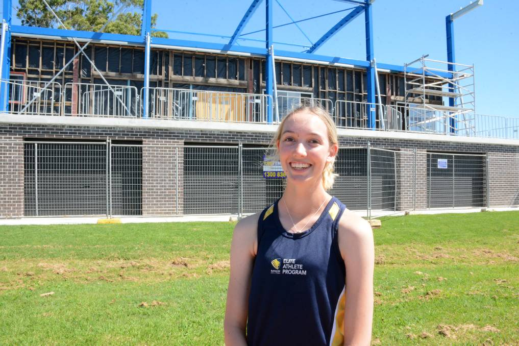 Sydney University rower Hannah Scarborough was pleased with the progress of the Manning River Rowing Club rebuild. Photo: Scott Calvin.