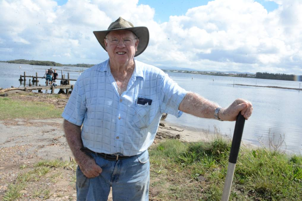 Helping out: Local legend Brian Shoesmith said Manning Point residents are working together to recover from the flood disaster. More on the recovery process will feature in next Wednesday's Times. Photo: Scott Calvin.